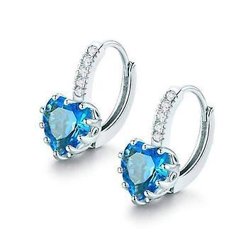 Serce w kształcie wyspy niebieski diament cz pasjans hoop kolczyki dla kobiety