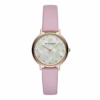 Emporio Armani AR11130 Rose Gold Lederen Dames Horloge