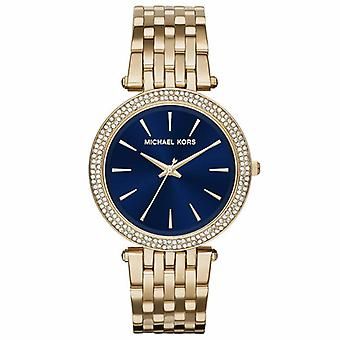 Michael Kors MK3406 Darci azul dial oro tono acero inoxidable muñeca señoras reloj