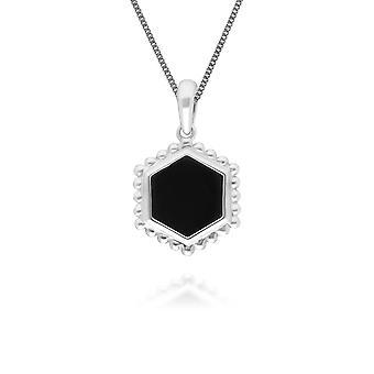 أسود أونكس شريحة قلادة قلادة في 925 الاسترليني الفضة 271P017302925