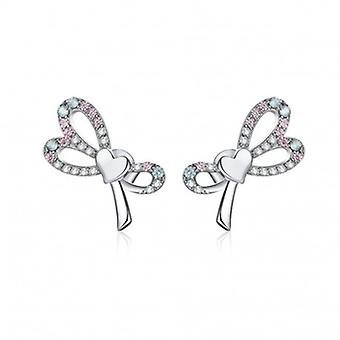 Silver Earrings Bowknot - 6592