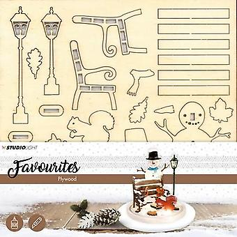 Studio Light Plywood favourites wooden snowman scenery PWSL03