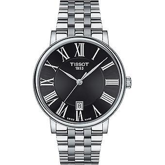 Tissot Horloges T122.410.11.053.00 Carson Premium Zwart en zilver roestvrij staal Heren's Horloge