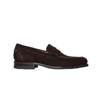 Loake 356 Dark Brown Suede Mens Slip On Loafer Shoes