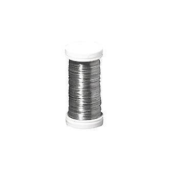 100m Reel Platinum Silver Thin Floristry Wire for Crafts - 0.35mm Thick