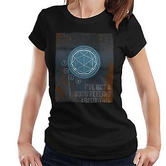 O labirinto de cristal bom sentimento rust painel women's t-shirt