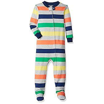 Essentials Baby Girls Zip-Front Footed Sleeper, Multi Stripe Grey, 12-...