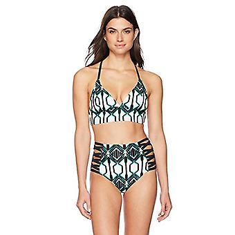 Merk - Coastal Blue Women's Swimwear High Waist Bikini Bottom, Black/Jolly geo Print, XS (0-2)