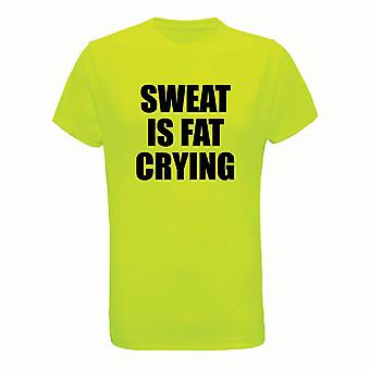 Sweat Is Fat Crying, Mens Tridri Activewear Fitness Exercise Workout Gym Top