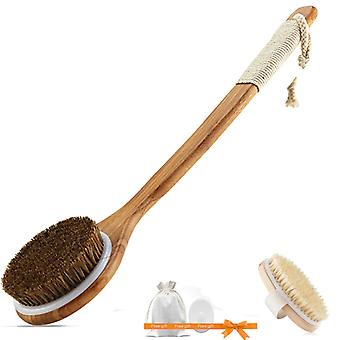 Exfoliating Wooden Body Massage Shower Natural Bristle Bath Brush For Woman Man