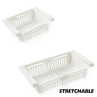 Adjustable Stretchable Refrigerator Organizer Drawer Basket Refrigerator Pull Out Drawers Fresh Spacer Layer Storage Rack