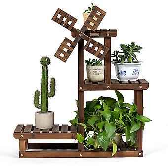 4-Tier Flower Rack Wood Plant Stand 5 pots Display Storage Shelf Indoor Outdoor