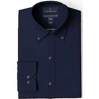 KNAPPET NED Men's Skræddersyet Fit Button-Collar Solid Ikke-Jern Kjole Shirt, Na ...