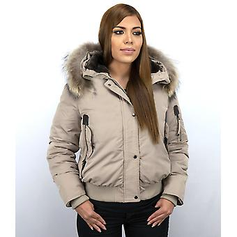 Padded Winter Coat - With Fur Collar - Grey