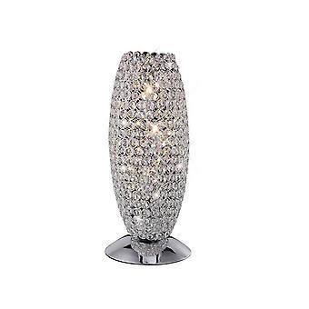 Bordlampe 3 Let poleret krom, Krystal