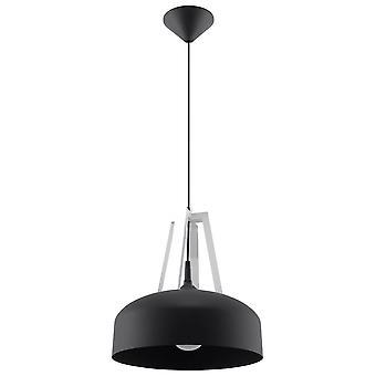 1 Lichte Dome plafondhanger zwart, wit, E27