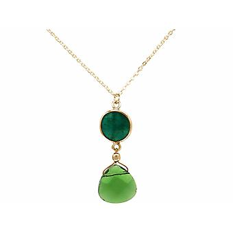 GEMSHINE Necklace Emerald and Green Tourmaline Quartz, 925 Silver or Gilded