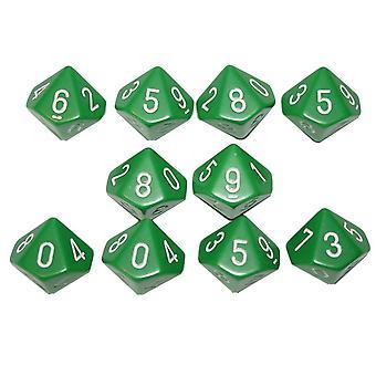 Chessex Opaque 10 x D10 Set - Green/white