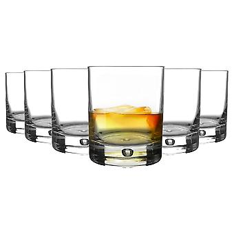 Bormioli Rocco 6 Piece Barglass Whisky Glasses Set - Classic Contemporary Scotch Whiskey Tumblers - Bubble Base - 280ml