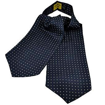 Solmiot Planet Gold Label Navy Sininen & Valkoinen Polka Piste painettu Silkki Rento Cravat