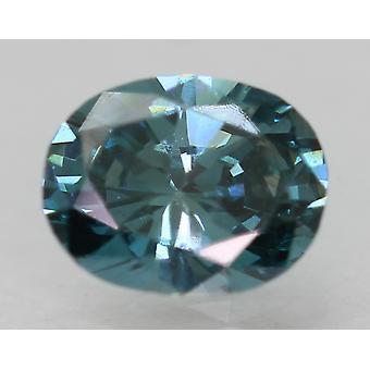 Cert 0.31 Karat Vivid Blue VVS1 Oval Enhanced Natural Loose Diamond 4.95x3.88mm
