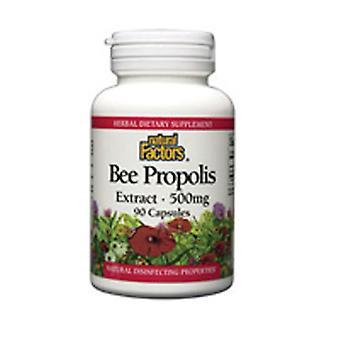 """גורמים טבעיים Bee Propolis, 500 מ""""ג, לחלץ 90 כמוסות"""