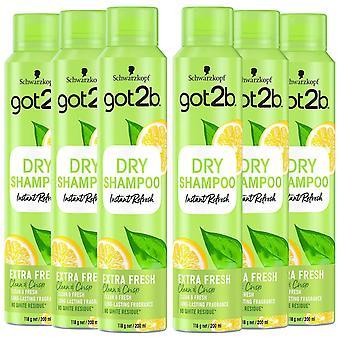 Schwarzkopf got2b Fresh It Up Extra Fresh Dry Shampoo 200ml, 6 Pack