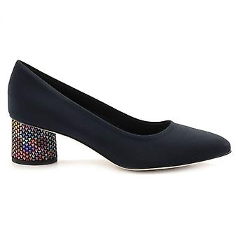 Brunate Décolleté In Blue Fabric With Colorful Heel