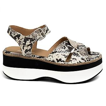 Janet Sport Idas Snake Print Leather Sandal With Wedge