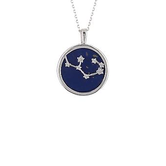 Zodiac Lapis Blue Gemstone Star Pendant Necklace Silver Sagittarius