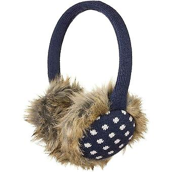 KitSound Audio On-Ear Earmuffs with Built In Headphones Faux Fur Navy/White