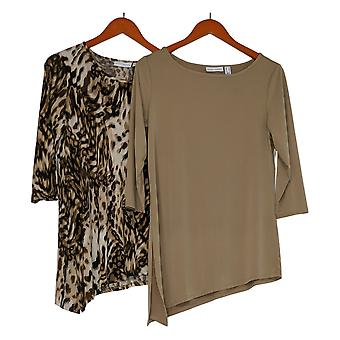 Susan Graver Women's Top Print & Solid Set of 2 Liquid Knit Beige A263009