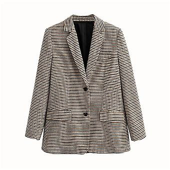 Women Plaid Autumn Blazer, High Waist Skirt Office Lady Jacket Suits Separately