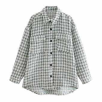 Vintage Kockované dlhý rukáv bunda kabát