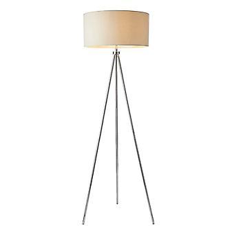 Lampe de plancher chromée Endon Lighting Tri E27 avec ombre ivoire