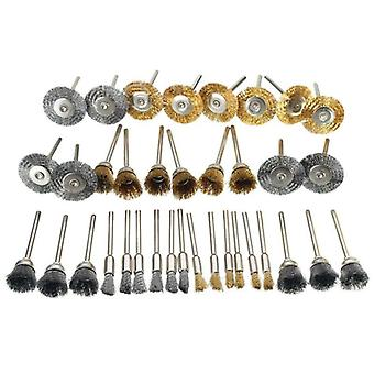 Brass Steel Wire Wheels Brushes, Drill Rotary Polishing Tools, Metal Rust,