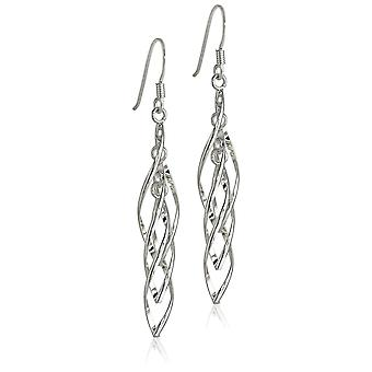 Sterling Silver Linear Swirl French Wire Earrings, silver, Size No Size