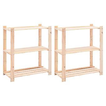 Storage shelves 3 floors 2 pcs. 80x38x90cm solid wood pine 150kg