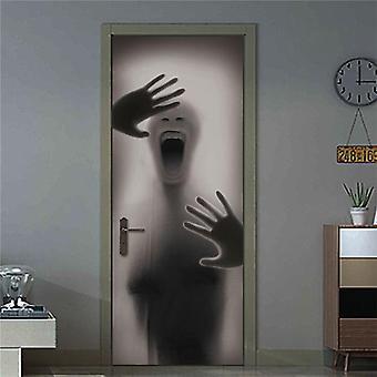 ブラック幾何学的ドアステッカー - ホーム装飾、セルフスティック壁紙、防水
