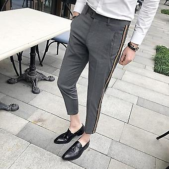 Ribbon Stripe Slim Dress Summer Men's Business Casual Office Pants