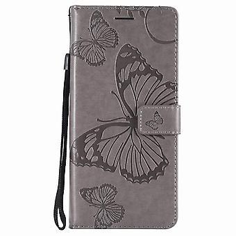 Schmetterling Muster Ledertasche für Motorola Moto G5s - grau