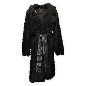 All Worthy Hunter McGrady Women's Coat Faux Fur Leather Belt Black A388944
