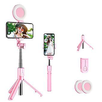 Bluetooth Selfie Stick med Led Ring Light, håndholdt live stativ, der kan forlænges