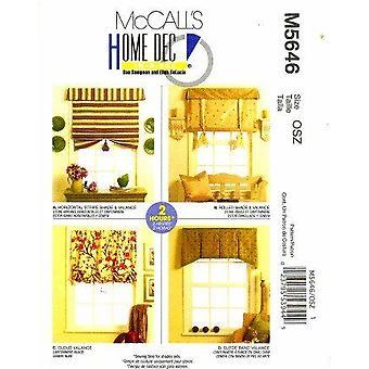 McCalls ompelu kuvio 5646 sävyt Valances ikkuna hoito yksi koko