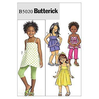 Butterick ompelu kuviot 5020 Lapset Tytöt Top Mekko Leggingsit Koko CL 6-7-8