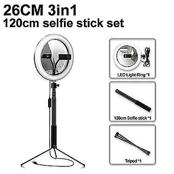 Led selfie makeup mirror ring light profissional usb ring lamp photography photo with phone holder 1.5m tripod stand for makeup