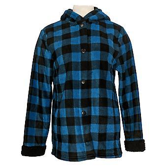 Cuddl Duds Women's Fleecewear Bonded Sherpa Snap Front Jacket Blue A381706
