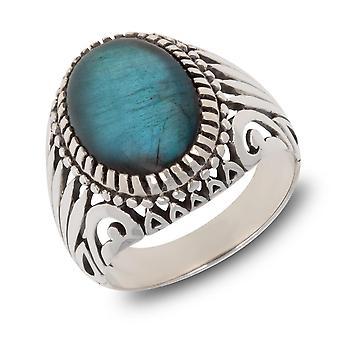ADEN Antique effect 925 Sterling Silver Labradorite Biker Ring (id 4204)