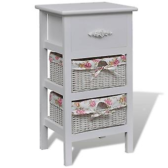 vidaXL basket chest of drawers with 1 drawer and 2 baskets white Paulownia wood
