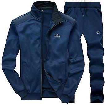 Mannen Polyester Sweatshirt, Sporting Fleece Gyms Jacket + Broek Casual Trainingspak